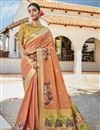 image of Jacquard Silk Fabric Puja Wear Trendy Weaving Work Saree In Orange Color