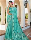 image of Trendy Jacquard Silk Fabric Puja Wear Cyan Color Weaving Work Saree