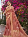 image of Rust Color Trendy Jacquard Silk Fabric Puja Wear Weaving Work Saree