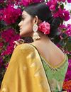 photo of Yellow Color Trendy Jacquard Silk Fabric Puja Wear Weaving Work Saree