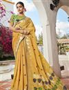 image of Yellow Color Puja Wear Trendy Weaving Work Saree In Jacquard Silk Fabric