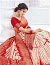 photo of Art Silk Fabric Party Wear Weaving Work Saree In Red Color
