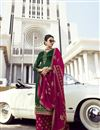 image of Festive Wear Classy Georgette Fabric Dark Green Embroidered Palazzo Suit