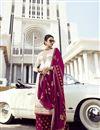 image of Off White Festive Wear Embroidered Classy Georgette Fabric Palazzo Dress