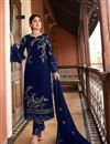 image of Kritika Kamra Blue Color Satin Georgette Fabric Function Wear Embroidered Straight Cut Suit