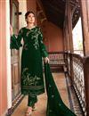 image of Kritika Kamra Occasion Wear Dark Green Color Embroidered Straight Cut Salwar Kameez