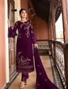 image of Kritika Kamra Satin Georgette Fabric Purple Color Straight Cut Suit
