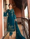 image of Kritika Kamra Teal Color Embroidered Satin Georgette Fabric Party Wear Straight Cut Salwar Kameez