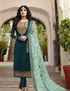 image of Kritika Kamra Embroidery Work Teal Color Satin Georgette Fabric Straight Cut Salwar Suit