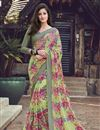 image of Georgette Fabric Casual Wear Simple Printed Saree In Green Color