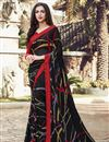 image of Black Color Casual Printed Saree In Georgette Fabric