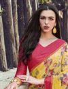photo of Simple Printed Georgette Fabric Saree In Yellow Color