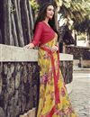 image of Simple Printed Georgette Fabric Saree In Yellow Color