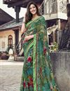 image of Casual Wear Fancy Printed Saree In Georgette Fabric Sea Green Color
