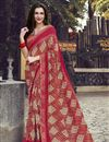 image of Fancy Georgette Fabric Red Color Printed Daily Wear Saree