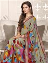 photo of Georgette Fabric Daily Wear Printed Saree In Dark Beige Color