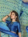 photo of Sea Green Color Daily Wear Printed Saree In Georgette Fabric