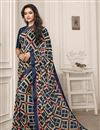 image of Fancy Georgette Fabric Navy Blue Color Casual Wear Printed Saree