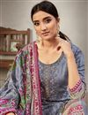 photo of Grey Color Cotton Fabric Daily Wear Embroidery Work Salwar Kameez