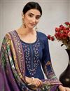 photo of Cotton Fabric Navy Blue Color Casual Salwar Kameez