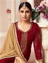 photo of Designer Maroon Color Festive Wear Embroidered Brasso Fabric Palazzo Dress