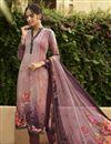 image of Crepe Fabric Festive Wear Fancy Printed Pink Color Salwar Kameez