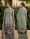image of Festive Wear Crepe Fabric Fancy Sea Green Color Printed Salwar Suit