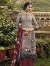 image of Lavender Color Festive Wear Fancy Printed Salwar Kameez In Crepe Fabric