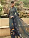 image of Fancy Festive Wear Crepe Fabric Grey Color Printed Salwar Suit