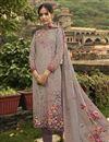 image of Festive Wear Cream Color Fancy Printed Salwar Kameez In Crepe Fabric