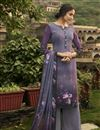 image of Fancy Purple Color Festive Wear Printed Crepe Fabric Salwar Suit