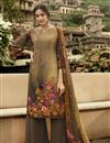 image of Festive Wear Brown Color Fancy Crepe Fabric Printed Salwar Suit
