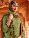 photo of Casual Wear Green Color Embroidery Work Palazzo Salwar Kameez