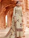 image of Embroidery Work Beige Color Pashmina Fabric Palazzo Salwar Suit