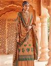 image of Pashmina Fabric Peach Color Fancy Palazzo Salwar Kameez