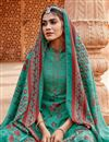 photo of Embroidery Work Designs Cyan Color Pashmina Fabric Casual Wear Palazzo Salwar Suit