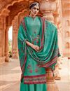 image of Embroidery Work Designs Cyan Color Pashmina Fabric Casual Wear Palazzo Salwar Suit