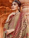 photo of Embroidery Work Pashmina Fabric Beige Color Daily Wear Palazzo Suit