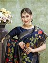photo of Navy Blue Color Puja Wear Art Silk Fabric Trendy Weaving Work Saree