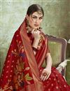 photo of Puja Wear Red Color Trendy Art Silk Fabric Weaving Work Saree