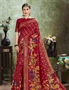 image of Puja Wear Red Color Trendy Art Silk Fabric Weaving Work Saree