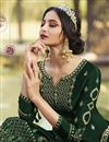 photo of Classic Georgette Fabric Party Style Embroidered Palazzo Suit In Dark Green Color