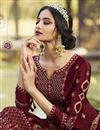 photo of Classic Georgette Fabric Party Style Embroidered Maroon Color Palazzo Dress