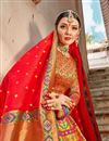 photo of Trendy Multi Color Function Wear Banarasi Style Silk Fabric Weaving Work Lehenga