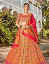 image of Function Wear Banarasi Style Silk Fabric Trendy Weaving Work Multi Color Lehenga