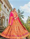 image of Multi Color Function Wear Weaving Work Banarasi Style Silk Fabric Lehenga Choli