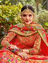 photo of Function Wear Multi Color Trendy Banarasi Style Silk Fabric Weaving Work Lehenga