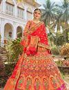 image of Function Wear Multi Color Trendy Banarasi Style Silk Fabric Weaving Work Lehenga