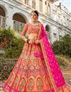 image of Multi Color Function Wear Weaving Work Lehenga Choli In Banarasi Style Silk Fabric