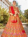 image of Trendy Banarasi Style Silk Fabric Function Wear Multi Color Weaving Work Lehenga